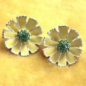 Yellow Flower and Crystal Earrings